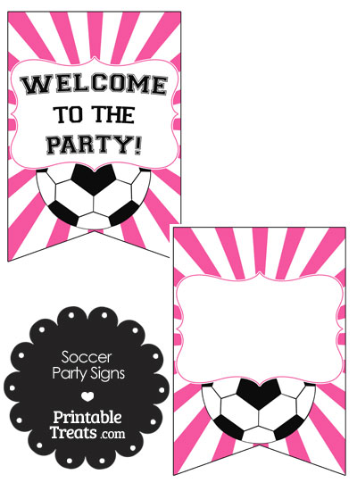 Pink Sunburst Soccer Party Signs from PrintableTreats.com