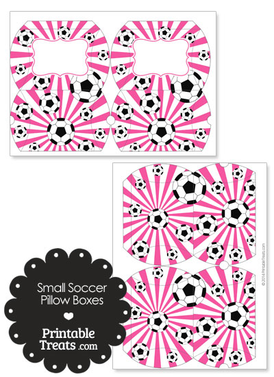 Pink Sunburst Soccer Party Small Pillow Boxes from PrintableTreats.com