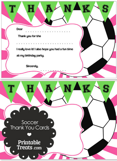 Pink Sunburst Soccer Thank You Cards from PrintableTreats.com