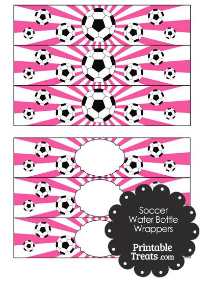 Pink Sunburst Soccer Water Bottle Wrappers from PrintableTreats.com