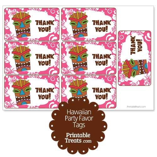 pink tiki mask party favor tags