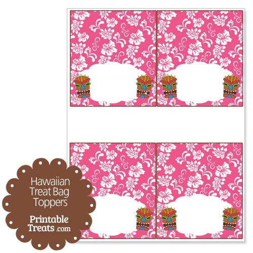pink tiki mask treat bag topper printable