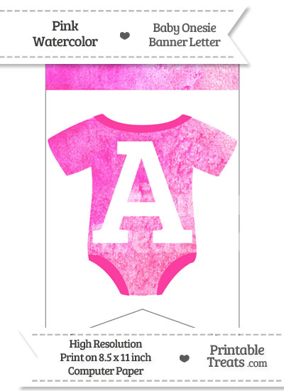 Pink Watercolor Baby Onesie Bunting Banner Letter A from PrintableTreats.com