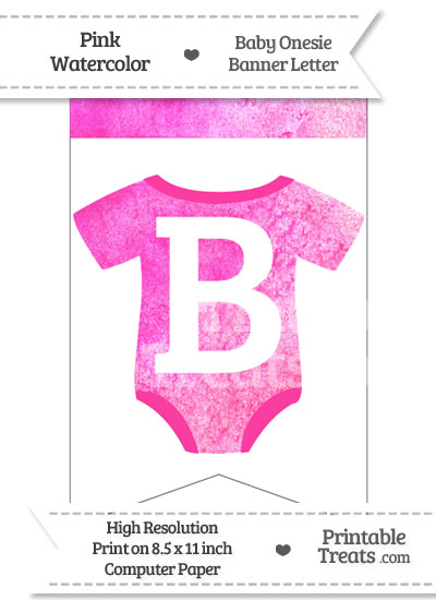 Pink Watercolor Baby Onesie Bunting Banner Letter B from PrintableTreats.com