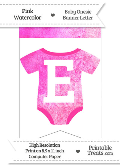 Pink Watercolor Baby Onesie Bunting Banner Letter E from PrintableTreats.com