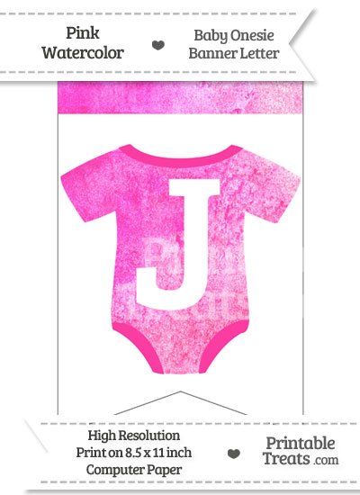 Pink Watercolor Baby Onesie Bunting Banner Letter J from PrintableTreats.com