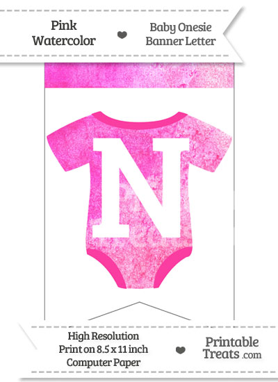 Pink Watercolor Baby Onesie Bunting Banner Letter N from PrintableTreats.com