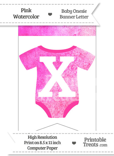 Pink Watercolor Baby Onesie Bunting Banner Letter X from PrintableTreats.com
