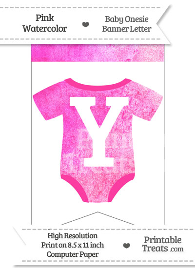 Pink Watercolor Baby Onesie Bunting Banner Letter Y from PrintableTreats.com