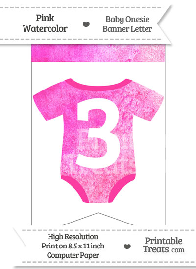 Pink Watercolor Baby Onesie Bunting Banner Number 3 from PrintableTreats.com