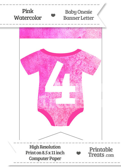 Pink Watercolor Baby Onesie Bunting Banner Number 4 from PrintableTreats.com