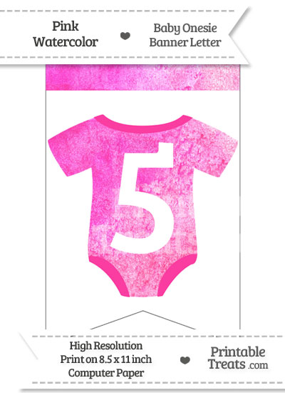 Pink Watercolor Baby Onesie Bunting Banner Number 5 from PrintableTreats.com