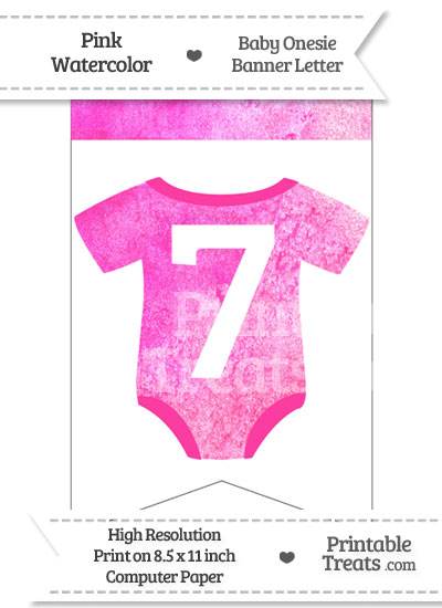 Pink Watercolor Baby Onesie Bunting Banner Number 7 from PrintableTreats.com