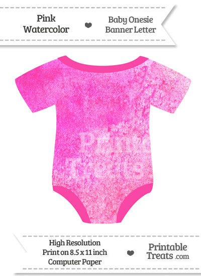 Pink Watercolor Baby Onesie Shaped Banner Blank Spacer Flag from PrintableTreats.com
