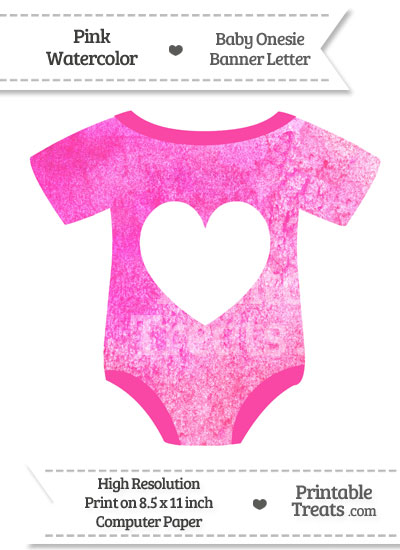 Pink Watercolor Baby Onesie Shaped Banner Heart End Flag from PrintableTreats.com