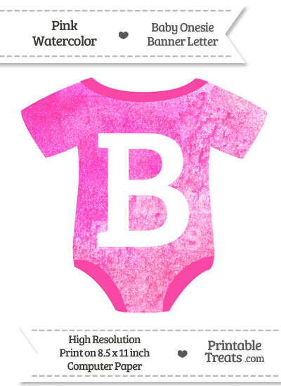 Pink Watercolor Baby Onesie Shaped Banner Letter B from PrintableTreats.com