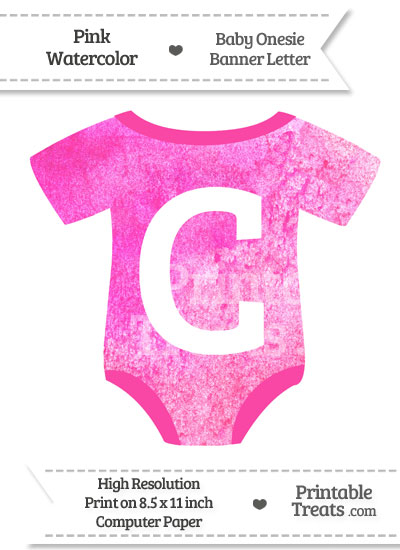 Pink Watercolor Baby Onesie Shaped Banner Letter C from PrintableTreats.com