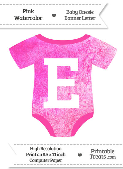 Pink Watercolor Baby Onesie Shaped Banner Letter E from PrintableTreats.com