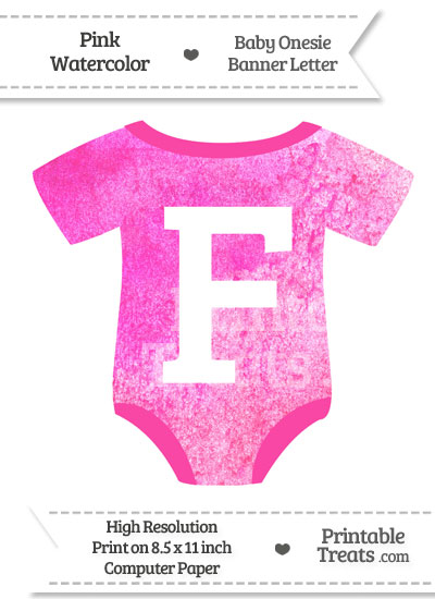 Pink Watercolor Baby Onesie Shaped Banner Letter F from PrintableTreats.com