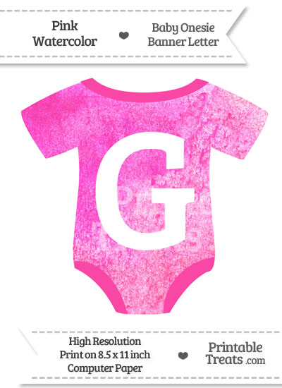 Pink Watercolor Baby Onesie Shaped Banner Letter G from PrintableTreats.com