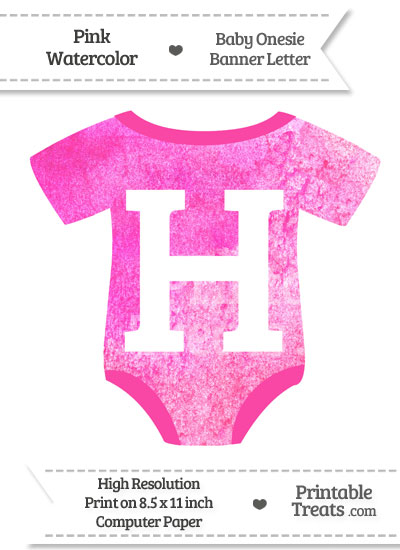 Pink Watercolor Baby Onesie Shaped Banner Letter H from PrintableTreats.com