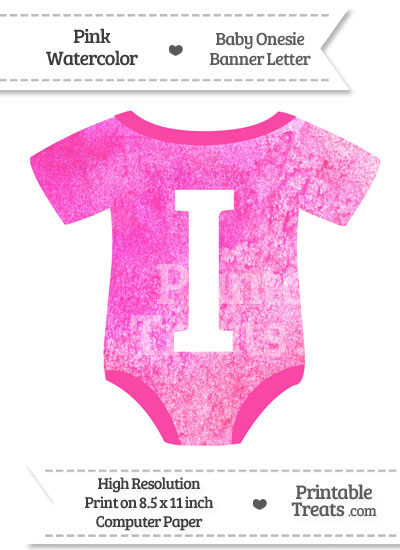 Pink Watercolor Baby Onesie Shaped Banner Letter I from PrintableTreats.com