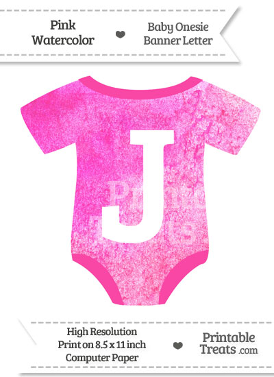 Pink Watercolor Baby Onesie Shaped Banner Letter J from PrintableTreats.com