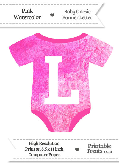 Pink Watercolor Baby Onesie Shaped Banner Letter L from PrintableTreats.com