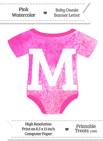 Pink Watercolor Baby Onesie Shaped Banner Letter M from PrintableTreats.com