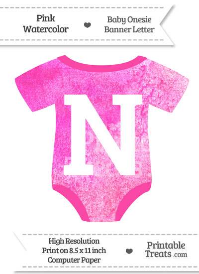 Pink Watercolor Baby Onesie Shaped Banner Letter N from PrintableTreats.com