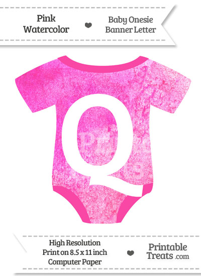 Pink Watercolor Baby Onesie Shaped Banner Letter Q from PrintableTreats.com