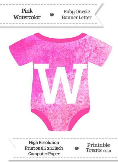 Pink Watercolor Baby Onesie Shaped Banner Letter W from PrintableTreats.com