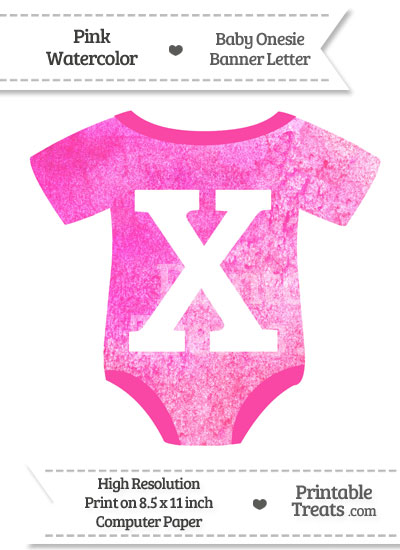 Pink Watercolor Baby Onesie Shaped Banner Letter X from PrintableTreats.com