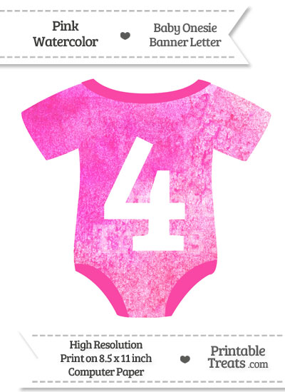 Pink Watercolor Baby Onesie Shaped Banner Number 4 from PrintableTreats.com