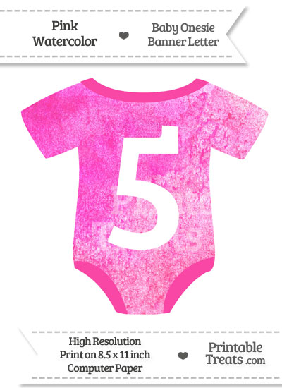 Pink Watercolor Baby Onesie Shaped Banner Number 5 from PrintableTreats.com