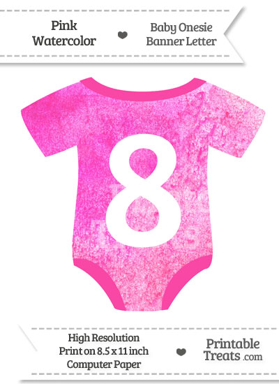 Pink Watercolor Baby Onesie Shaped Banner Number 8 from PrintableTreats.com