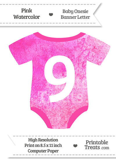 Pink Watercolor Baby Onesie Shaped Banner Number 9 from PrintableTreats.com