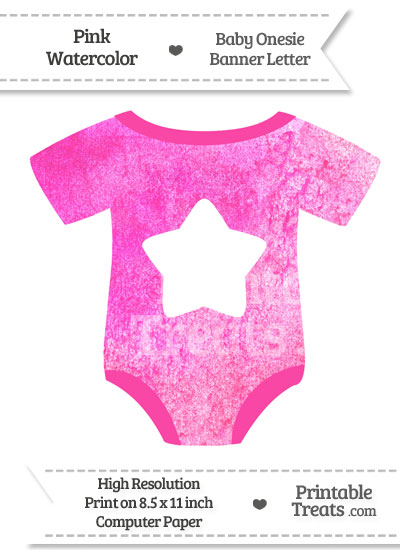 Pink Watercolor Baby Onesie Shaped Banner Star End Flag from PrintableTreats.com