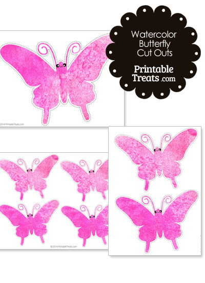 Pink Watercolor Butterfly Cut Outs from PrintableTreats.com