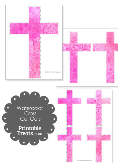 Pink Watercolor Cross Cut Outs from PrintableTreats.com