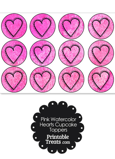 Pink Watercolor Heart Cupcake Toppers from PrintableTreats.com