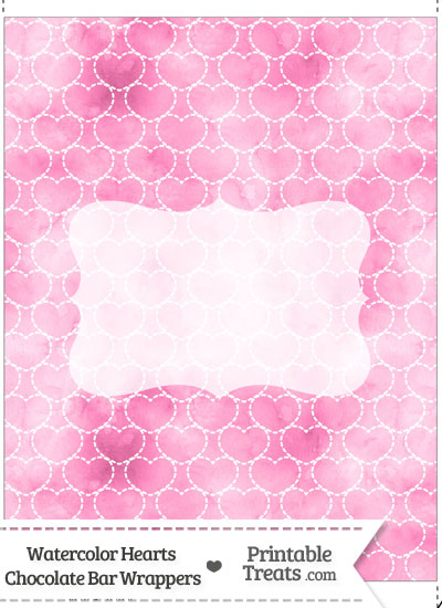 Pink Watercolor Hearts Chocolate Bar Wrappers from PrintableTreats.com