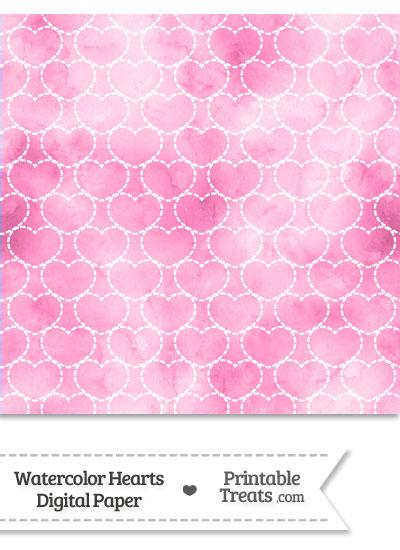 Pink Watercolor Hearts Digital Scrapbook Paper from PrintableTreats.com