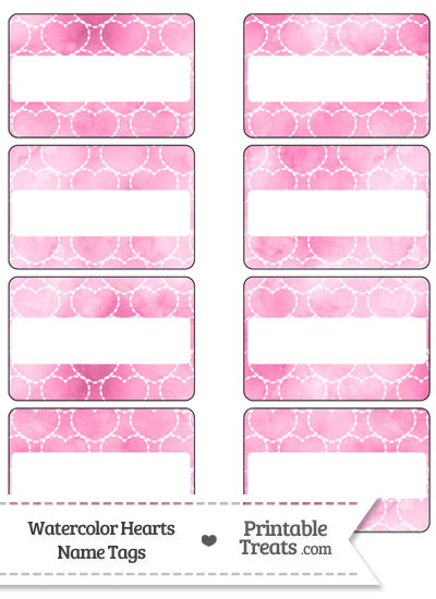 Pink Watercolor Hearts Name Tags from PrintableTreats.com