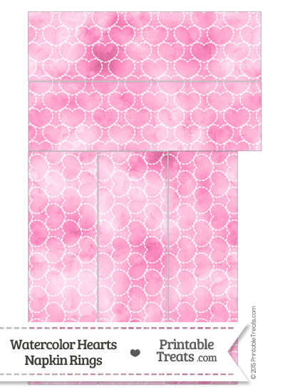 Pink Watercolor Hearts Napkin Rings from PrintableTreats.com