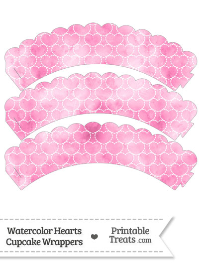 Pink Watercolor Hearts Scalloped Cupcake Wrappers from PrintableTreats.com