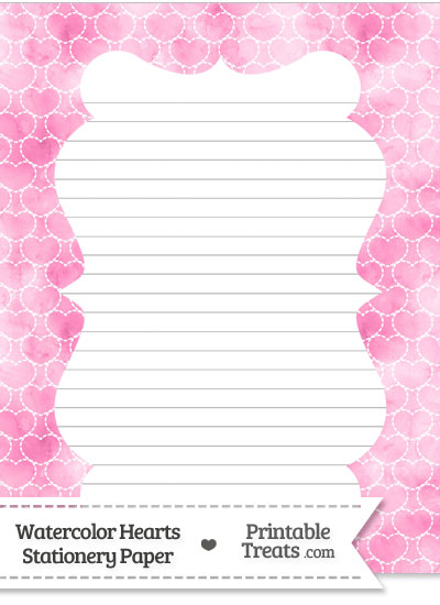 Pink Watercolor Hearts Stationery Paper from PrintableTreats.com