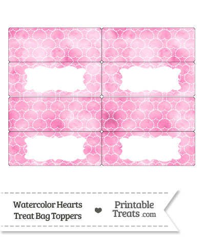 Pink Watercolor Hearts Treat Bag Toppers from PrintableTreats.com