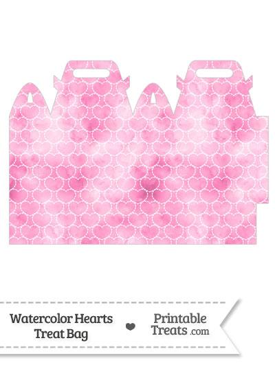Pink Watercolor Hearts Treat Bag from PrintableTreats.com