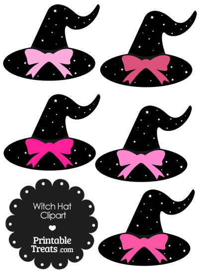 Pink Witch Hat Clipart with Large Bow from PrintableTreats.com